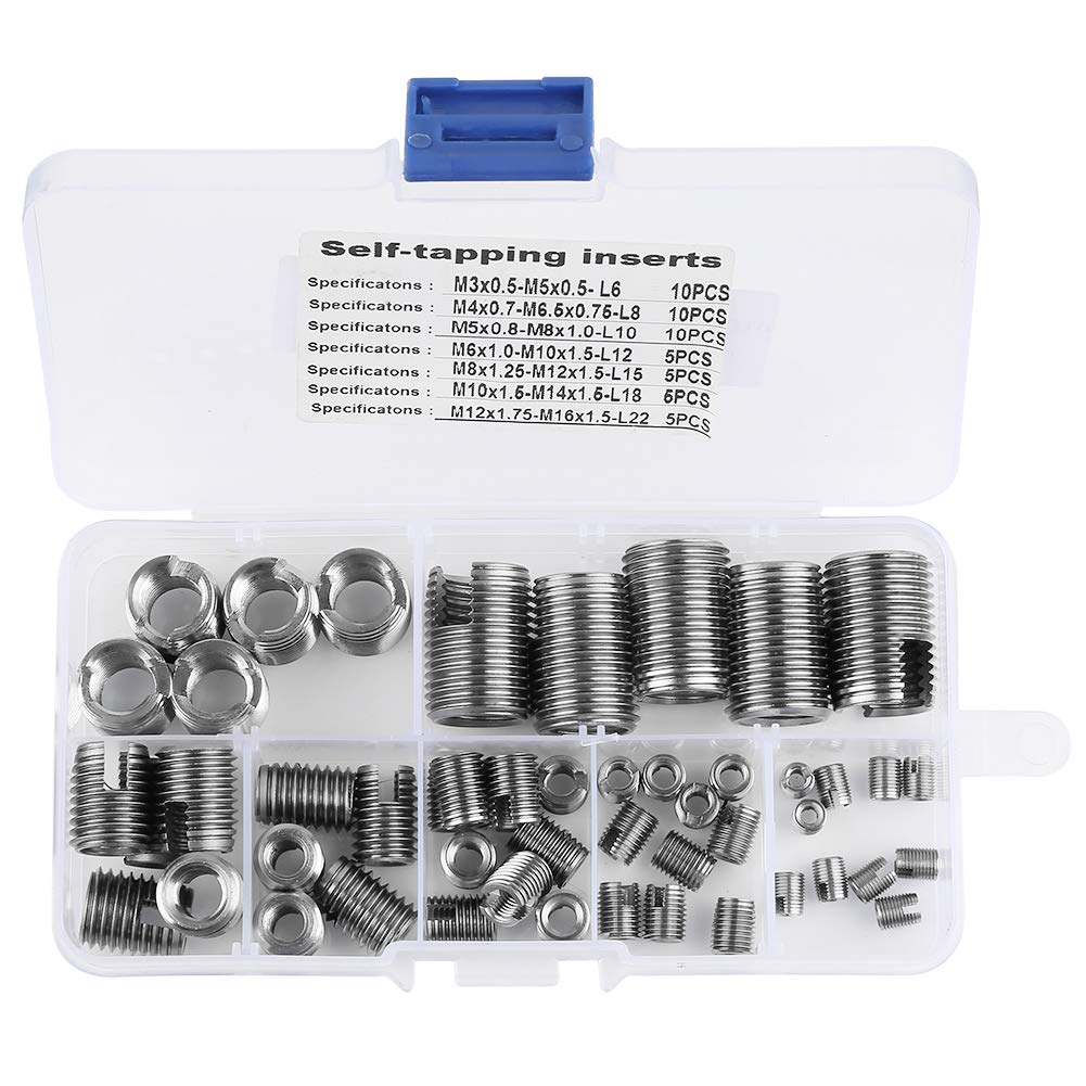 Stainless Steel Inner Thread Self Tapping Inserts Set Reinforce Repair Tool 50Pcs by Meiyya