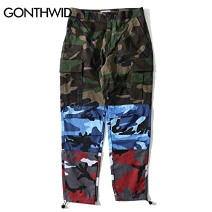 8f21ae017b YShowntide Tri Color Camo Patchwork Cargo Pants Men's Hip Hop Casual Camouflage  Trousers Green S