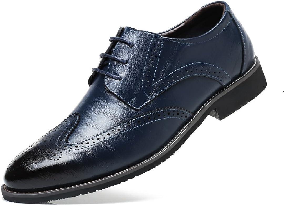 Stringate Brogue Derby Basse Elegante Sera Oxford Vintage Verniciata Nero Marrone Blu Rosso 38-48EU Scarpe Uomo Pelle