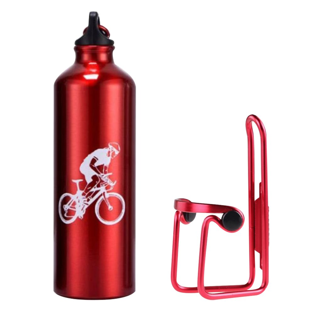 Lmeno Bicycle Water Bottle Cage Holder and Bike Water Bottle 750ml Aluminum Alloy Rack Bracket Universal Drink Bottle Mount Carrier Cycling Handlebar Lightweight Component Support Kit + CE Standard Eco-Friendly Sports Water Bottle 4 Colors- Black Blue Red