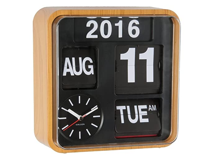 Karlsson Reloj de pared Flip Calendario - Bambú Madera Retro Mini Flip: Amazon.es: Relojes