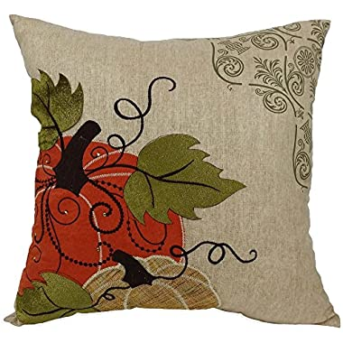 Xia Home Fashions Pumpkin Embroidered Polyester with Suede Accents Fall Decorative Pillow with Polyester Fill, 16 by 16-Inch