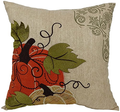 Xia Home Fashions Pumpkin Embroidered Polyester with Suede Accents Fall Decorative Pillow with Polyester Fill, 16 by - 16 Doily Light Inch