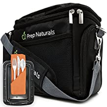 [Premium] Meal Prep Bag + Travel Bag with 10 Bonus Food Containers (28oz) and Cutlery Sets | Insulated Lunch Box Cooler for Gym and Meal Management System by Prep Naturals