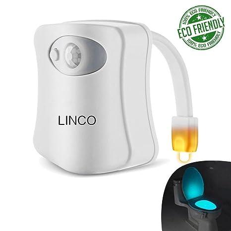 Linco Sensor de movimiento para inodoro cuenco luz nocturna 8 colores hogar baño automático activado LED