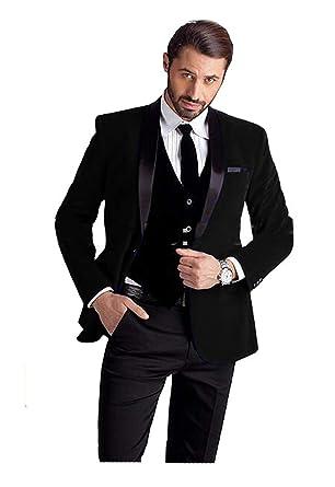 9f5eaba8ed72 JYDress Mens Slim Fit Shawl Lapel Wedding Suits Groom Tuxedos Jacket Vest  Pants Black