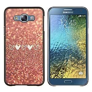 TECHCASE---Cubierta de la caja de protección para la piel dura ** Samsung Galaxy E7 E700 ** --oro asfalto amor del corazón