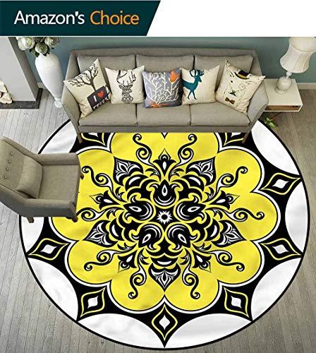 RUGSMAT Yellow Mandala Warm Soft Cotton Luxury Plush Baby Rugs,Asian Kaleidoscope Coffee Table Mat Non-Skid Living Room Carpet Round-24