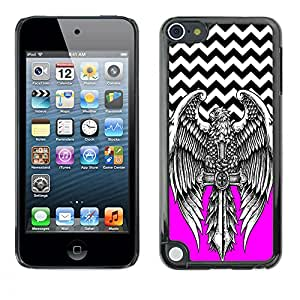 - Devil Cross Chevron Pattern - - Hard Plastic Protective Aluminum Back Case Skin Cover FOR Apple iPod Touch 5TH GEN Queen Pattern