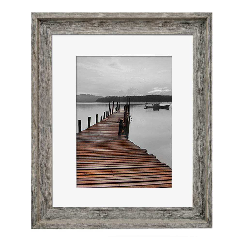 Eosglac Rustic 11x14 Picture Frame Matted to 8x10, Wooden Frames Weathered Gray