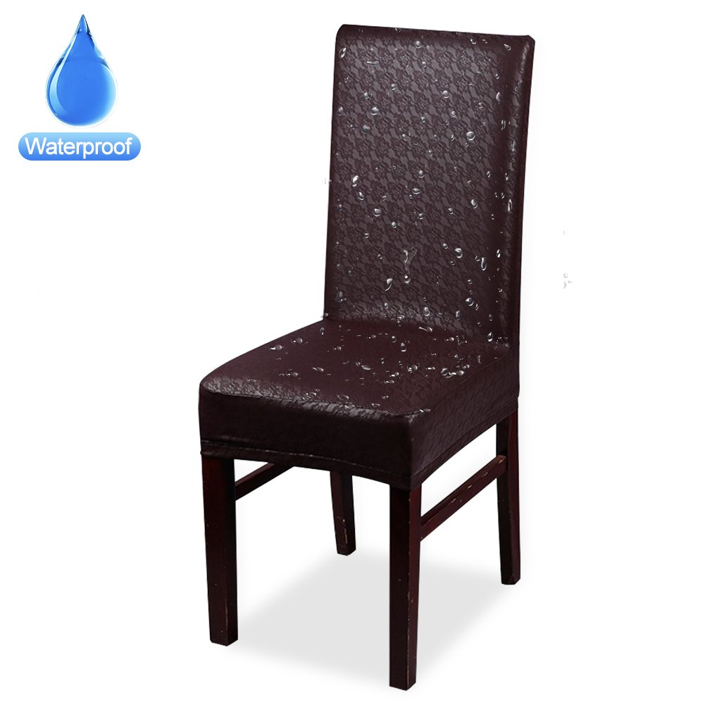 CosyVie 100% New Style Leather PU Chair Seat Covers Splipcovers Waterproof and Oilproof for Dining Room Chairs Decorate (4, Brown) by CosyVie (Image #2)