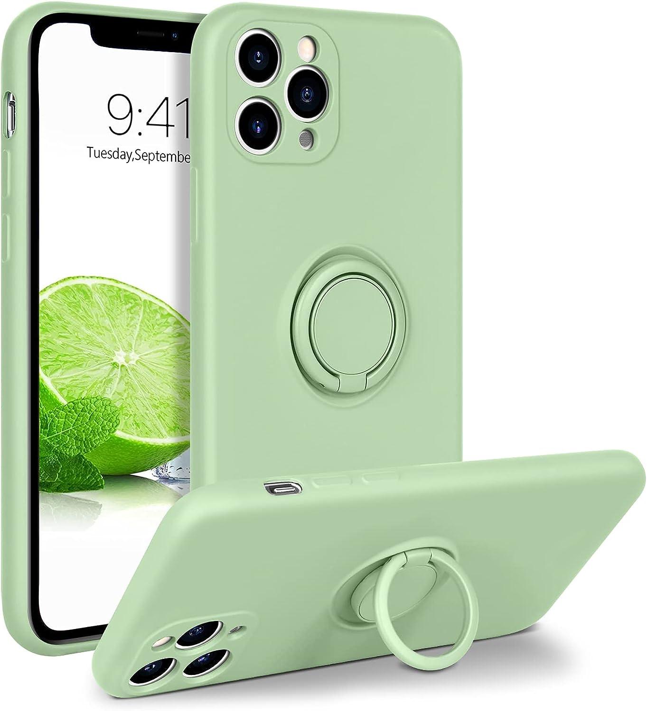 BENTOBEN Compatible iPhone 11 Pro Case, Slim Silicone 360° Ring Holder Kickstand Support Car Mount Microfiber Liner Shockproof Non-Slip Case for iPhone 11 Pro 5.8