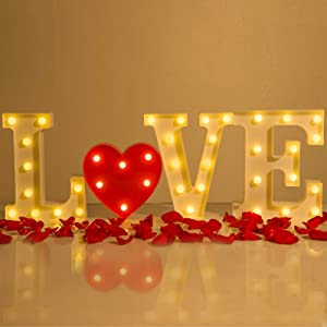 4 Pack Love Letter LED Lights Marquee Sign- Battery Operated Led Heart Lights Decorative Neon Sign Lights for Romantic Nights Propose Marriage Courtship Wedding Anniversary Honeymoon Party Home Decors