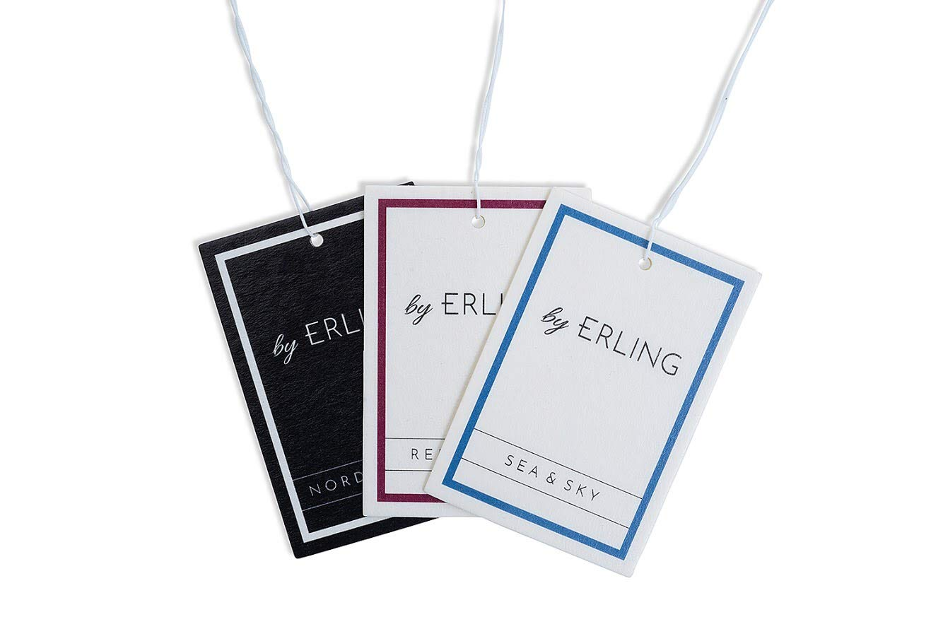 by Erling Premium Hanging Car Air Freshener. Scandinavian Inspired Luxury & Long Lasting Fragrances For Your Car. Premium & Unique Scents (Nordic Dawn - Black/White)
