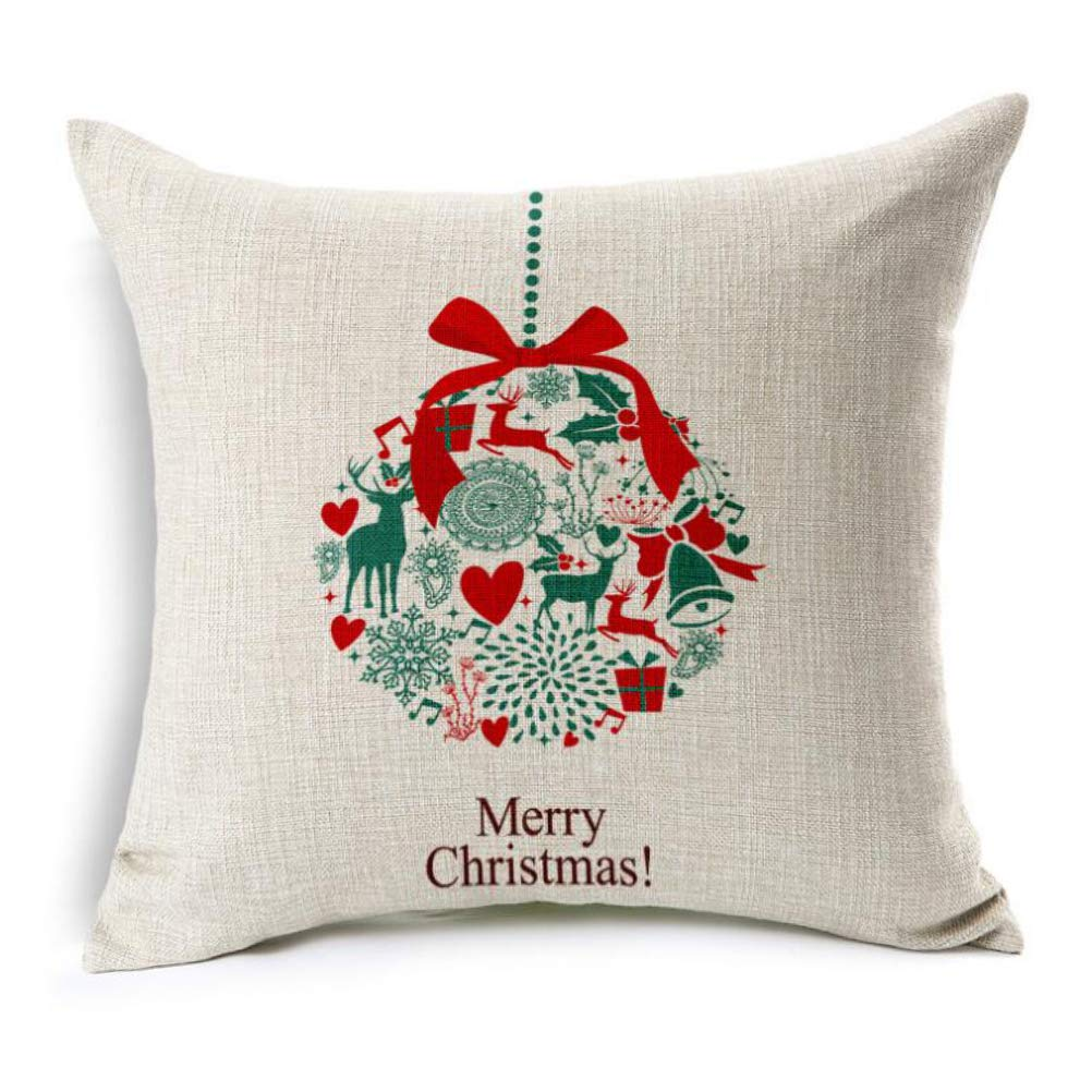 U-LOVE Merry Christmas Decorative Pillow Covers Christmas Tree Christmas Deer Santa Claus Pillowcases Throw Cushion Cover 18x18 Inches,4Pack(Merry Christmas)