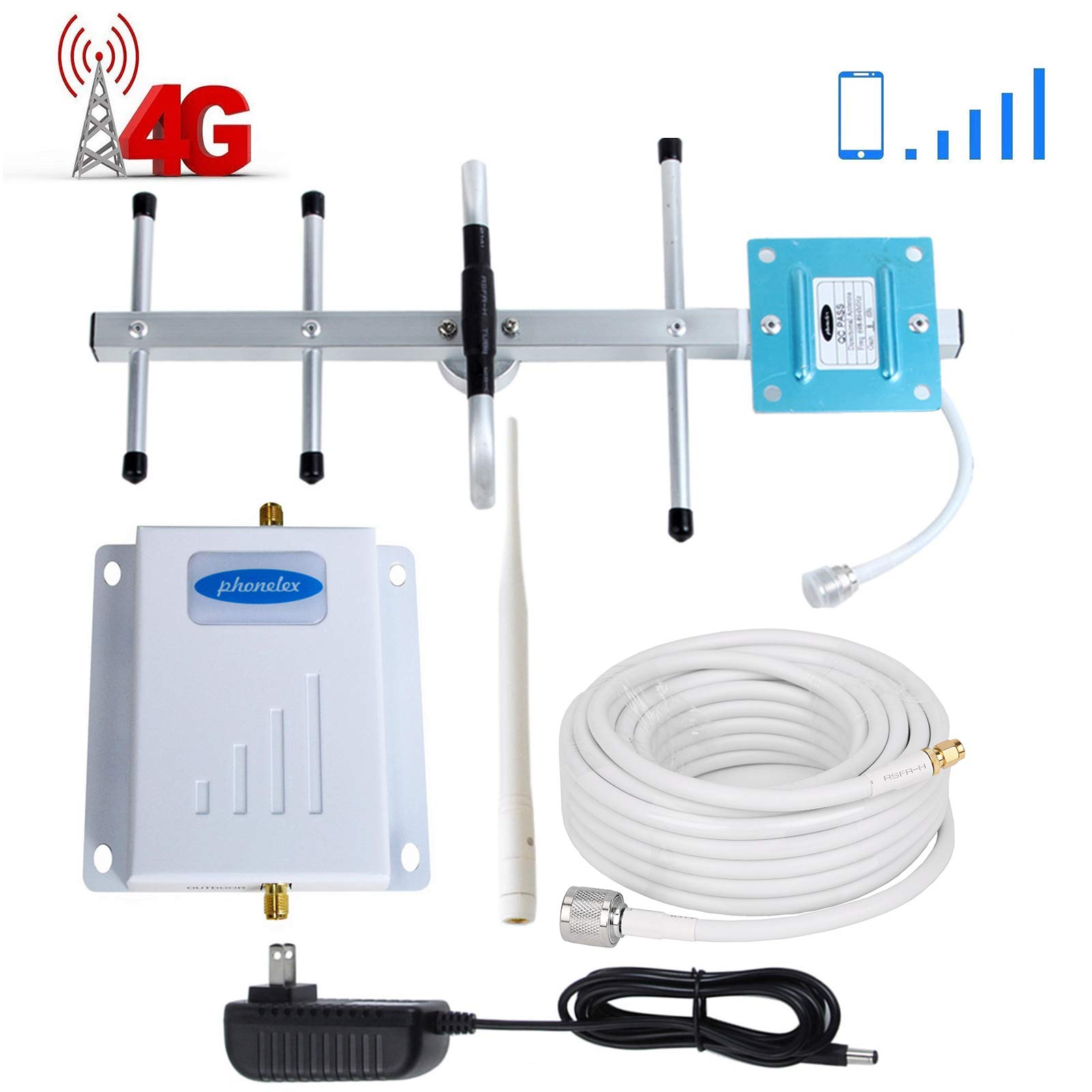 Verizon Cell Phone Signal Booster 4G LTE Phonelex Cell Signal Booster Verizon Cell Phone Signal Amplifier Mobile Phone Signal Booster Repeater Band13 700Mhz FDD with Whip+Yagi Antenna Kits for Home