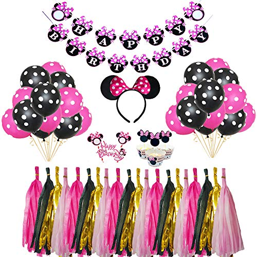 Minnie Mouse Birthday Party Supplies Decorations Party Favors Cute Banner Headband Balloon Cupcake Topper for Girls 1st 2nd 3rd Birthday Baby Shower ()