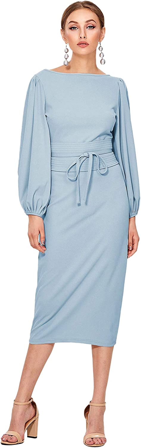 Floerns Women's Lantern Sleeve Tie Waist Midi Office Dress