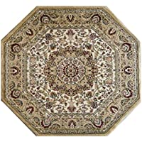 Traditional Octagon Area Rug Design Bellagio 401 Beige (7 Feet 3 Inch x 7 Feet 3 Inch)