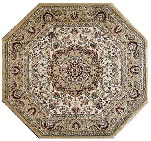 Traditional Octagon Area Rug Design Bellagio 401 Beige (7 Feet 3 Inch x 7 Feet 3 Inch) by Bellagio