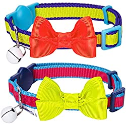 "Blueberry Pet Pack of 2 Cat Collars, Classic Adjustable Breakaway Cat Collar for Girl & Boy with Bell and Bow Tie in Fluorescent Yellow and Pink, Neck 9""-13"""