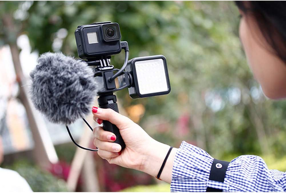 Pena Mic Mount with 2 Cold Shoe Setup Bracket Holder Tripod Adapter for GoPro Vlog Black