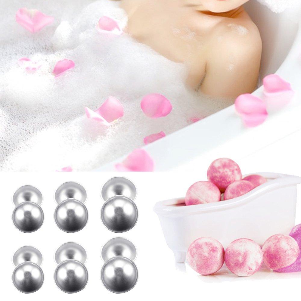 Kangkang@ 12PCS DIY Bath Bomb Ball Shape Molds Aluminum Alloy Balls DIY Bathing Tool Accessories for DIY Homemade Bath Bomb Shape Balls