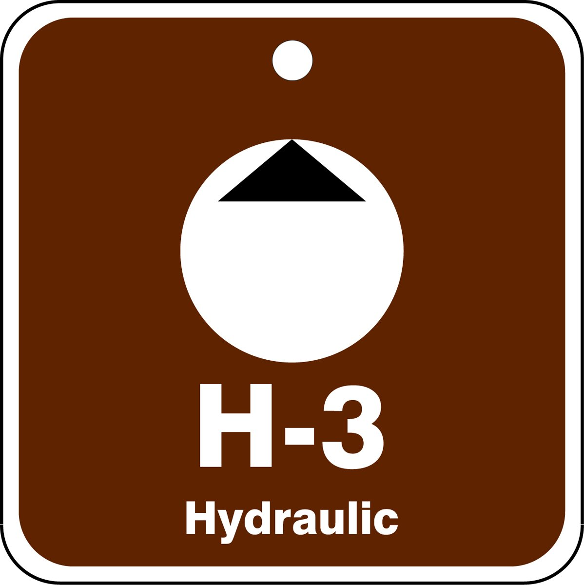 2-1//2 W x 2-1//2 L Accuform TDK503VPM PlasticH-3 Hydraulic Energy Source Shape ID Tag 2-1//2 W x 2-1//2 L White//Black on Brown Pack of 5