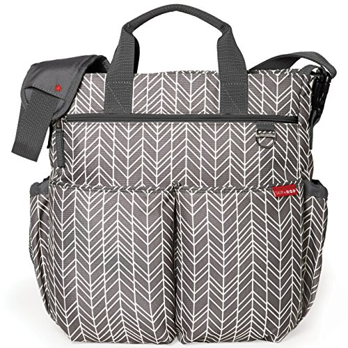 Skip Hop Messenger Diaper Bag With Matching Changing Pad, Duo Signature, Grey Feather