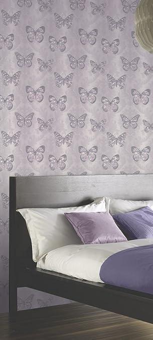 Arthouse Orange Crème Violet Bird Feather Long Coller le mur Papier Peint