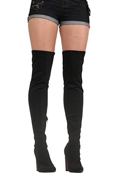 853a9dfa755 PILOT® Women s Over The Knee High Heeled Neoprene Boots in Black Shoe 3