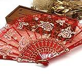 Red Luxury Rose Pattern Glitter Floral Lace Hand Fan Party Dance Folding Hand Fan Dance Party Kraft Gifts