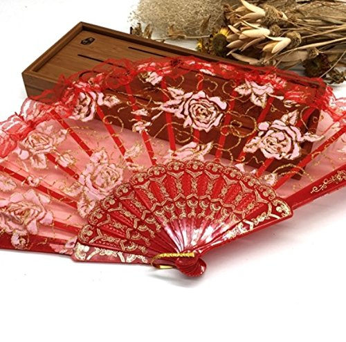 Red Luxury Rose Pattern Glitter Floral Lace Hand Fan Party Dance Folding Hand Fan Dance Party Kraft Gifts by HandFan