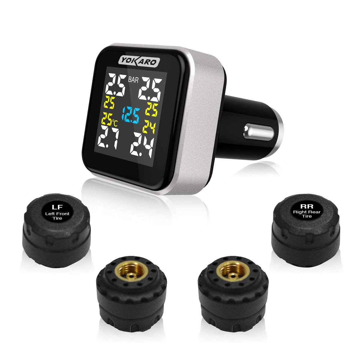 YOKARO Wireless TPMS, Tire Pressure Monitoring System for Cars, Trailer, and 4 wheeled Vehicles, 4 External Cap Sensors, Black