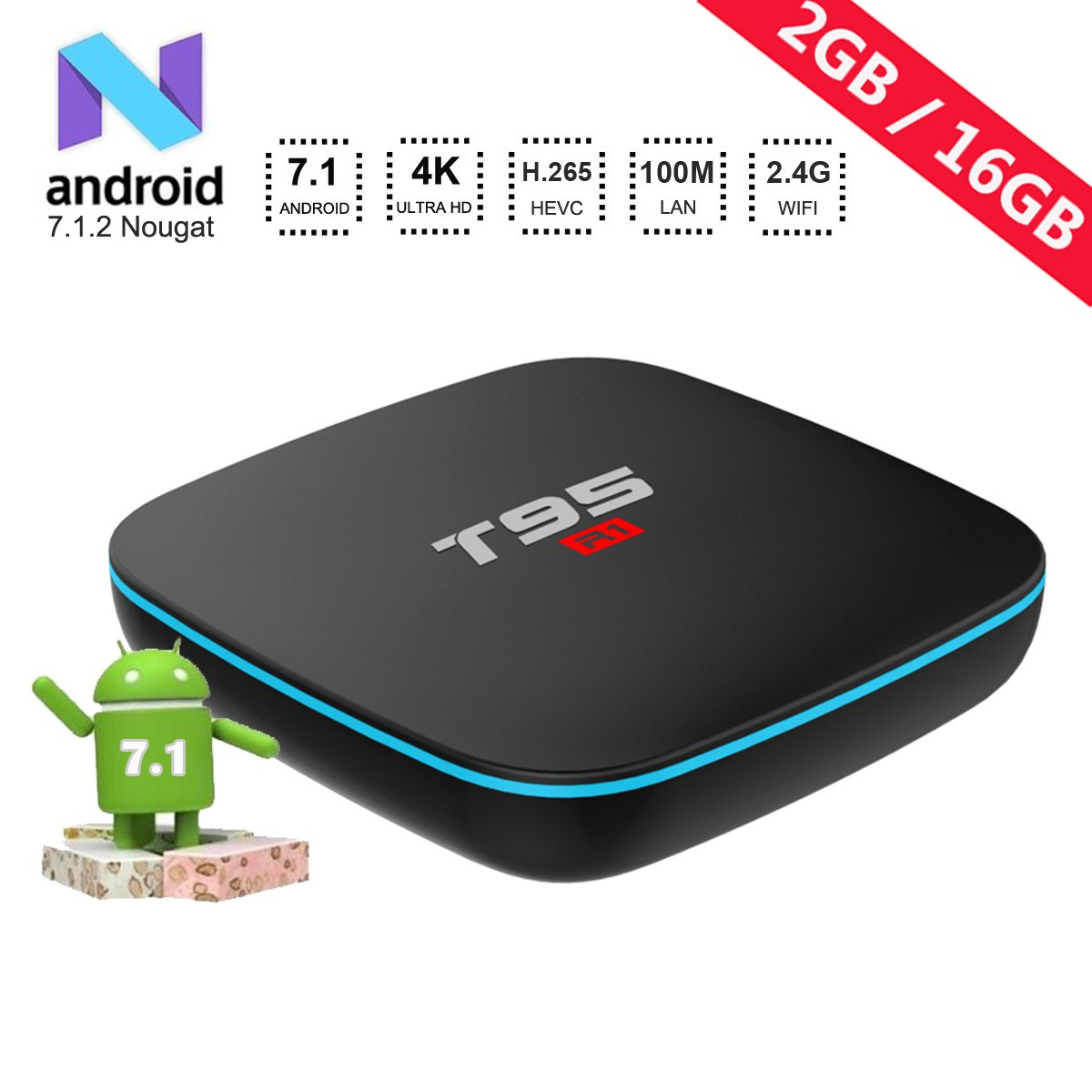 2018 Model Android TV Box,T95 R1 Android 7.1 Boxes with 2GB RAM 16GB ROM Quad-Core A53 Processor 2.4GHz WiFi 4K Ultra HD Smart TV Box