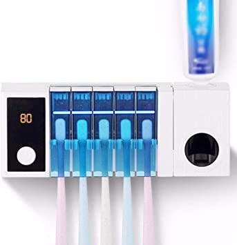 CAMPSLE Sterilizzatore per spazzolino UV 3-in-1 Porta spazzolino UV Dispenser di dentifricio a Parete Porta spazzolino Automatico Porta dentifricio con Adesivo Staffa Porta spazzolino
