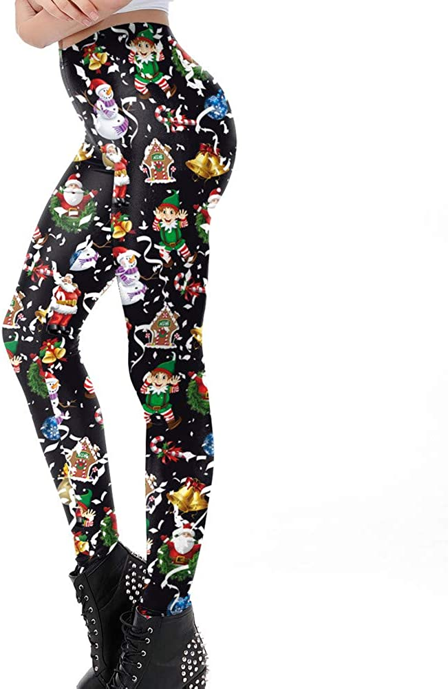 Christmas Women Print Yoga Pants Casual High Waist Running Sports Trouser Fitness Drawers Leggings Slacks Britches New Year Xmas Gift