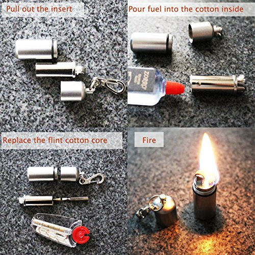 EDC Waterproof keychain Lighter 2 Pack Peanut Lighter for Survival and Emergency Use Bonus Inculded 6 Lighter flint & 1 Windproof wick