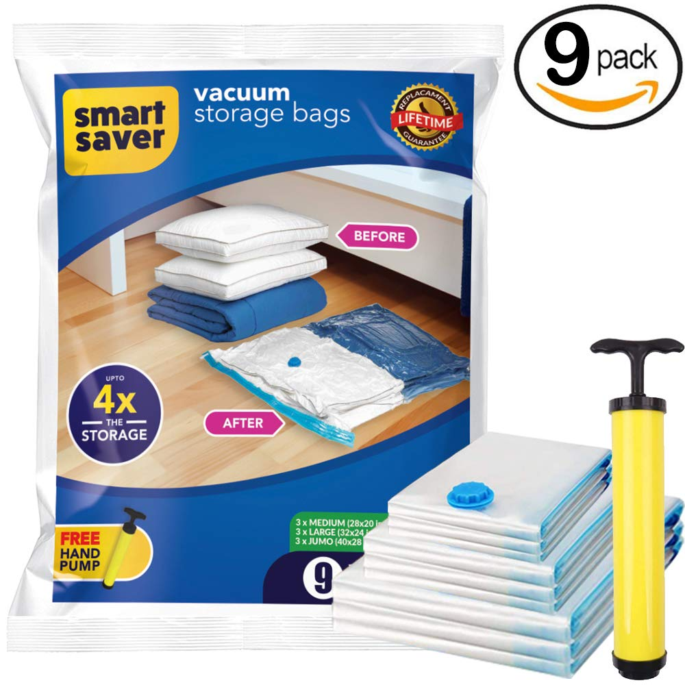 BigOwl Plastic Space Saver Vacuum Storage Bags - Pack of 9,