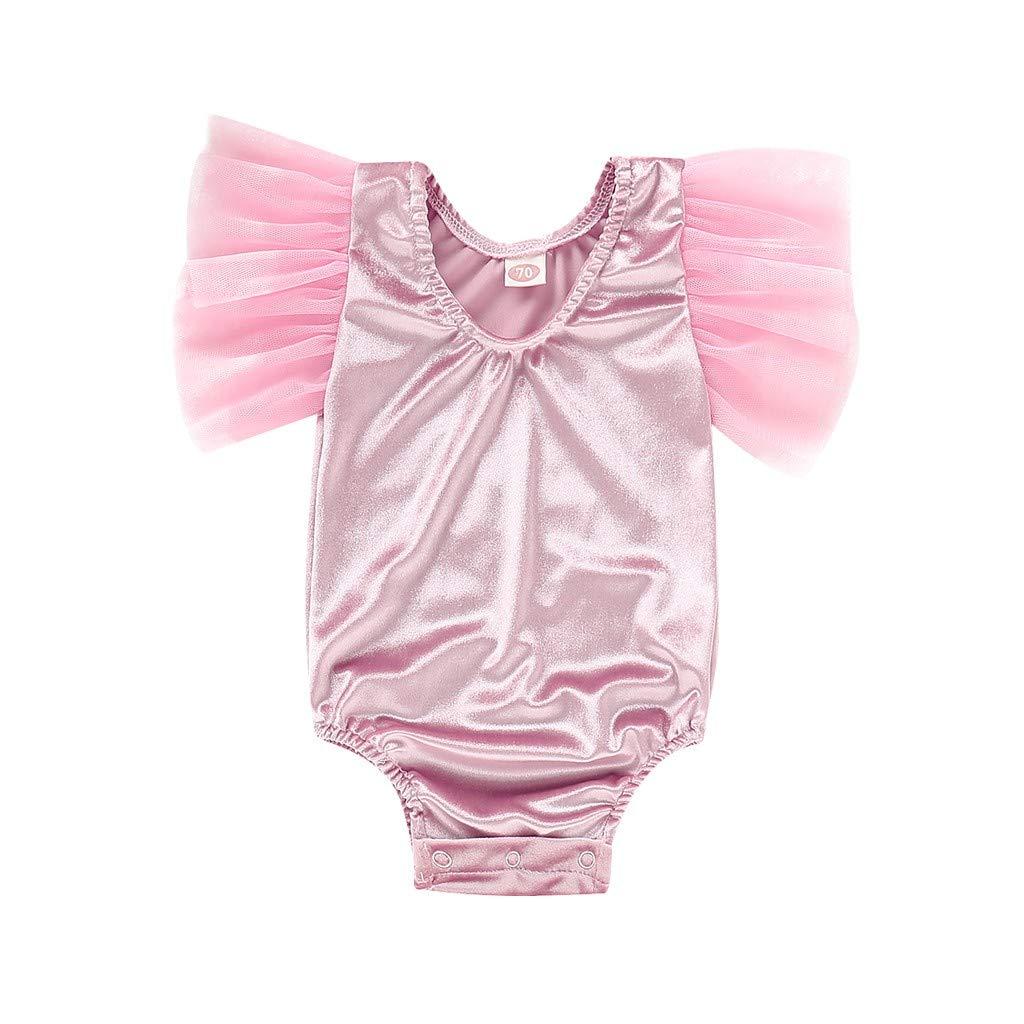 NUWFOR Toddler Infant Baby Girls Patchwork Gauze Solid Romper Bodysuit Clothes (Pink,12-18Months)