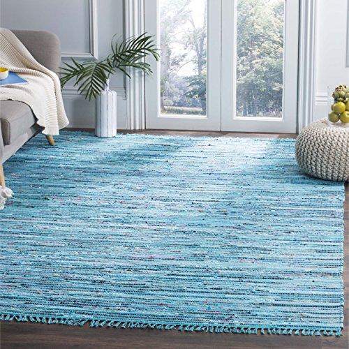 Safavieh Rag Rug Collection RAR125C Hand Woven Turquoise and Multi Cotton Area Rug (8' x 10')