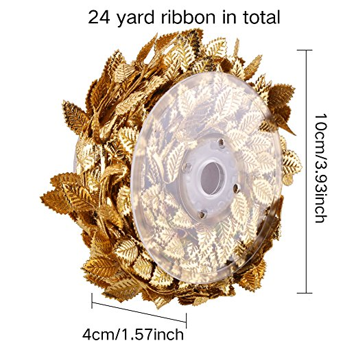 CCINEE 24 Yard Artificial Leaf Ribbon Gold Fabric Leaf Ribbon Trim for Wreath Garland Making, Home Decoration, Gift Wrapping and Crafts Accessory