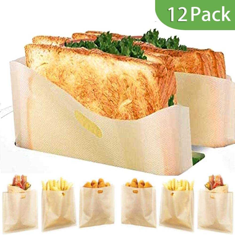 12 Pack Toaster Bags Reusable Non-stick Grilled Cheese Easy to Clean 3 Sizes Snack Bag Microwave Oven Toast Pouch Toasting Sleeves Toasted Sandwich Bags for Chicken Nuggets Pizza Pastries Panini