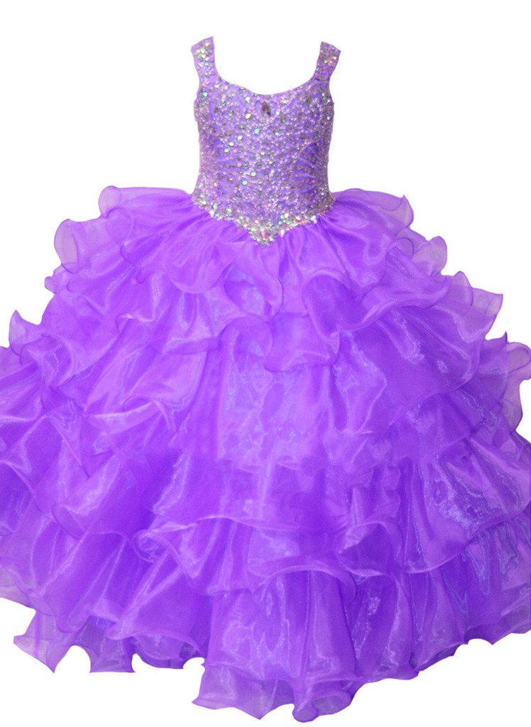 Yang Girls Full Beaded Ruffled Ball Gowns Pageant Dress 16 US Violet