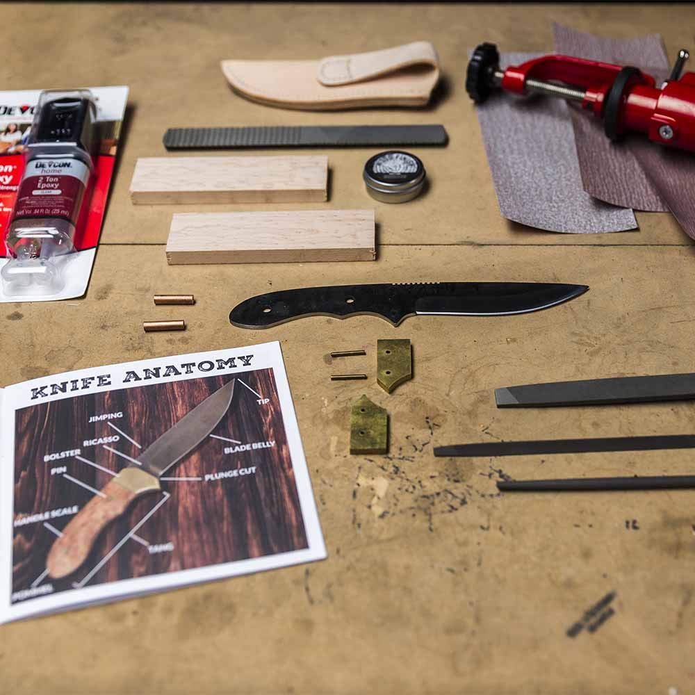 Man Crates Knife Making Kit - Awesome DIY Gift For Men - Includes Stainless-Steel Shawnee Skinner Blade, Maple Burl Handle, Brass Bolsters, Leather Sheath And Step-by-Step Knife Making Guide by Man Crates (Image #4)