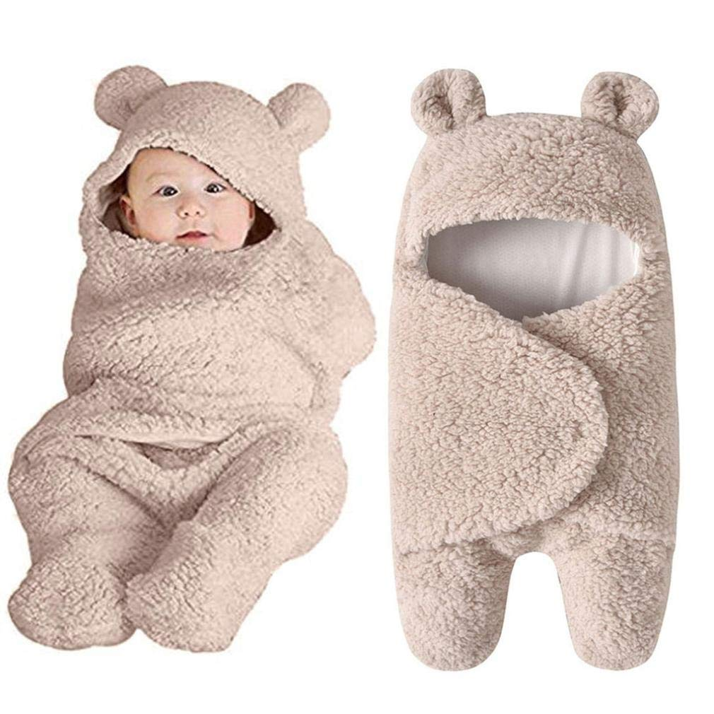 LNGRY Baby Clothes,Toddler Infant Boys Girls Cute Ear Cashmere Sleeping Blanket Wrap Swaddle Photo Clothes (0-12 Months, Khaki)