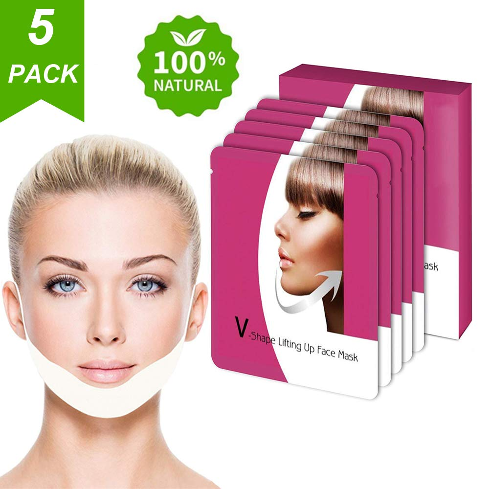 V Line Mask, Chin Up Patch, Double Chin Reducer, V-Shape Lifting Up Face Mask - Anti Age Face Slimming Lifting Patch for Wrinkles, Tightening Firming Face & Neck - 5 Strips