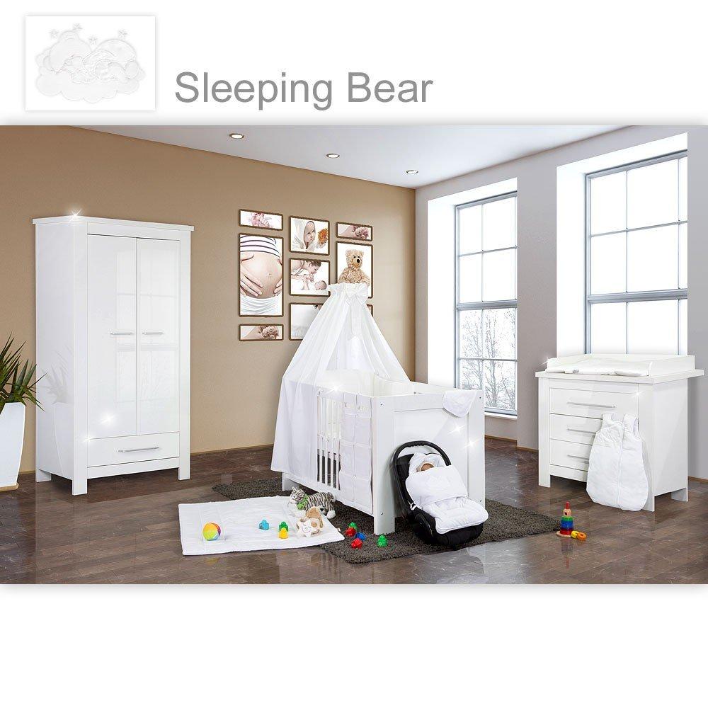 Babyzimmer Enni Hochglanz 21-tlg. mit 2 türigem Kl. + Textilien Sleeping Bear, Weiß
