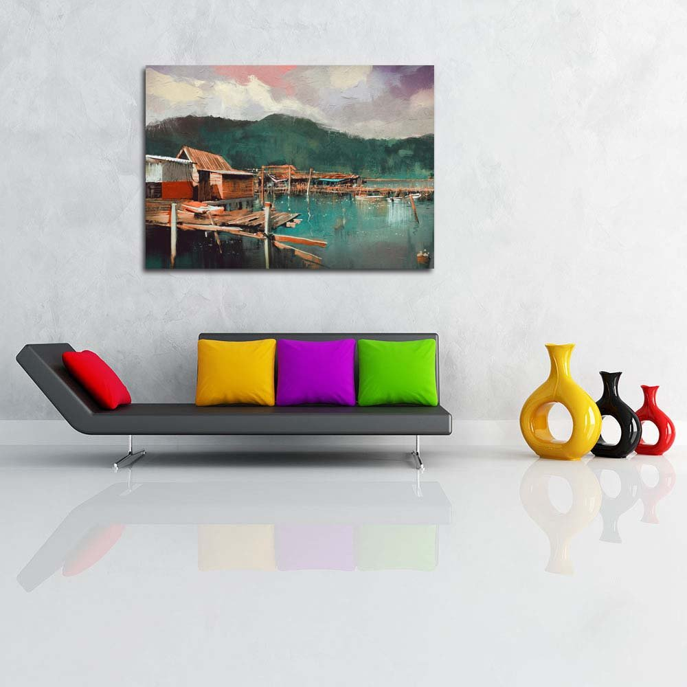 Pitaara Box Old Fishing Village Unframed Painting Canvas Painting Unframed 40 x 28.3inch 1560d6
