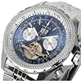 GuTe Elegant Silver Steel Automatic Mechanical Wristwatch Blue Dial Day Date Month Dress